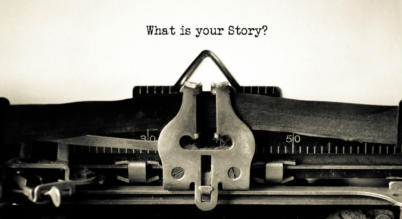 Text written with old typewriter: What is your Story
