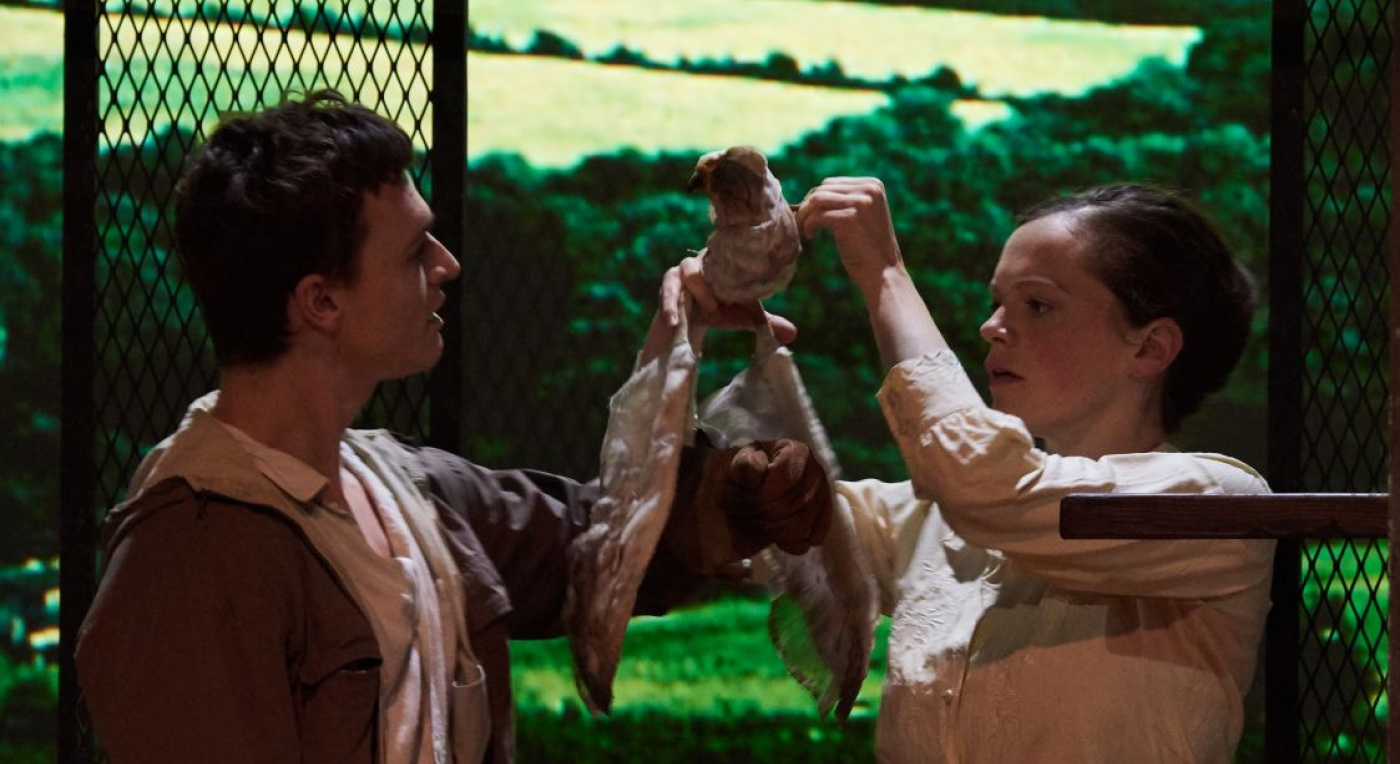 Kes Reimagined  by Jonathan Watkins. Chester Hayes and Laura Careless. Pic Marv Martin