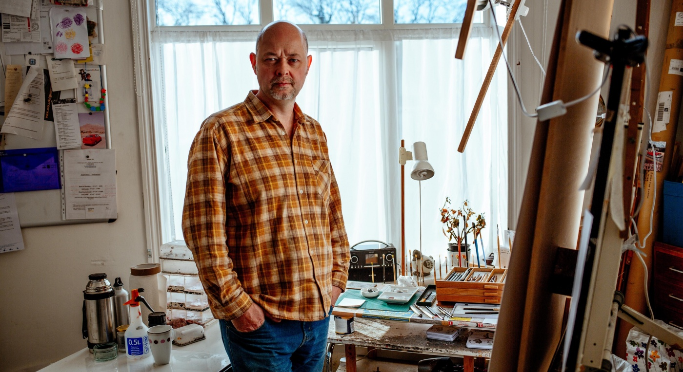 Artist Andrew Tift stands in his studio - Andrew Tift - Creative Black Country's 100 Masters