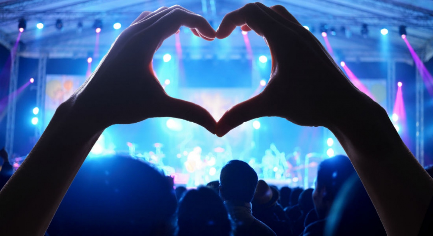 Audience at music concert, looking through hands in a heart shape.