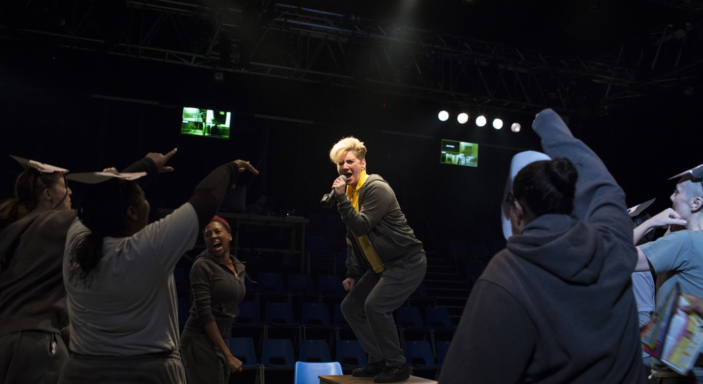 Jackie Clune (Caesar) and Company perform in Donmar Warehouse's Julius Caesar  - Photo by Helen Maybanks