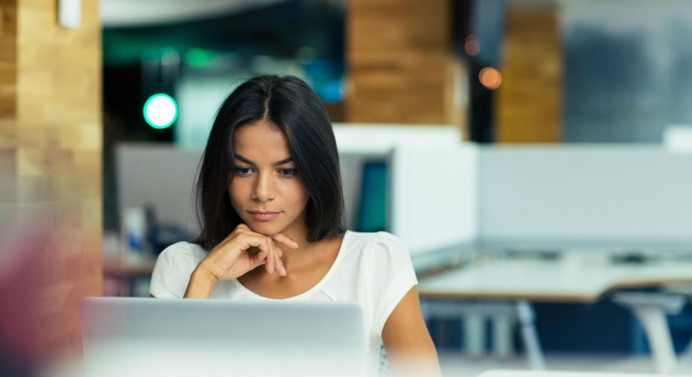 Lady looking at laptop