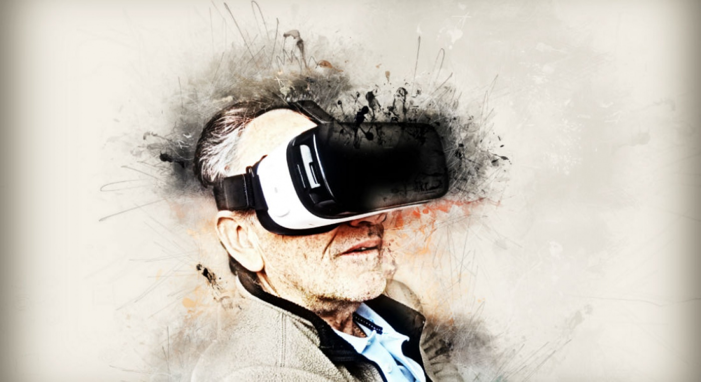 Painting of man wearing VR glasses
