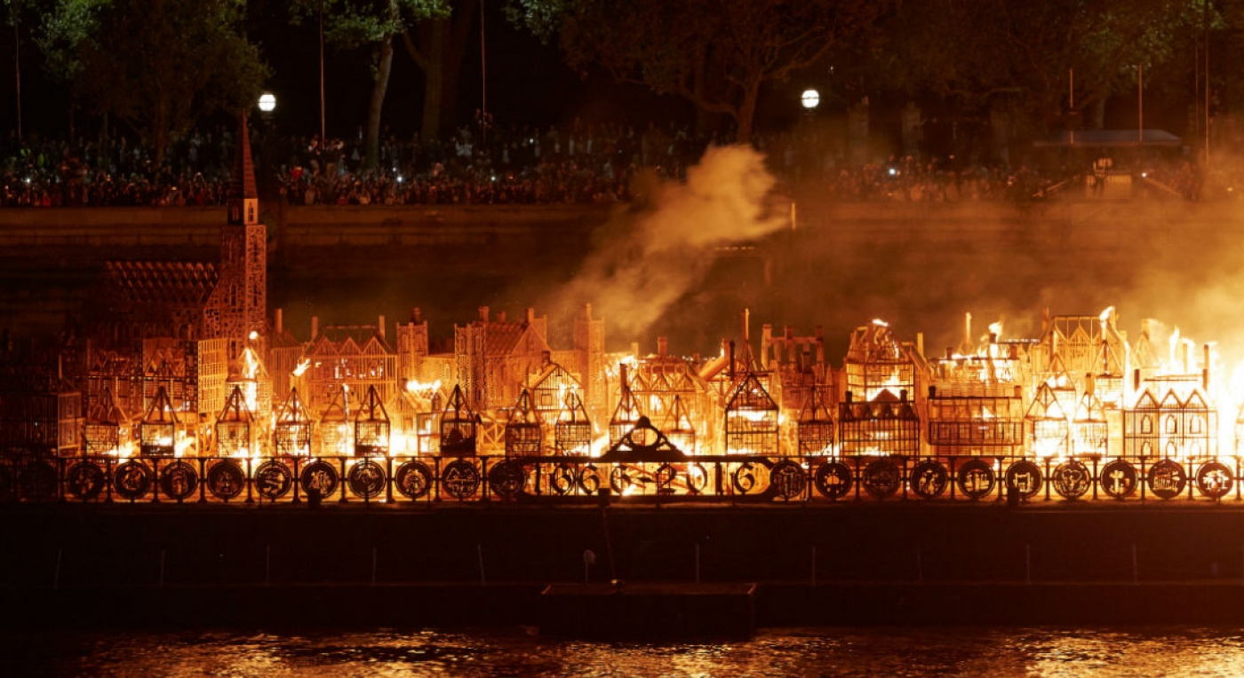 Artichoke's live artwork, London 1666, a life size replica of the City of London at the time of the Great Fire of London, burning on the Thames