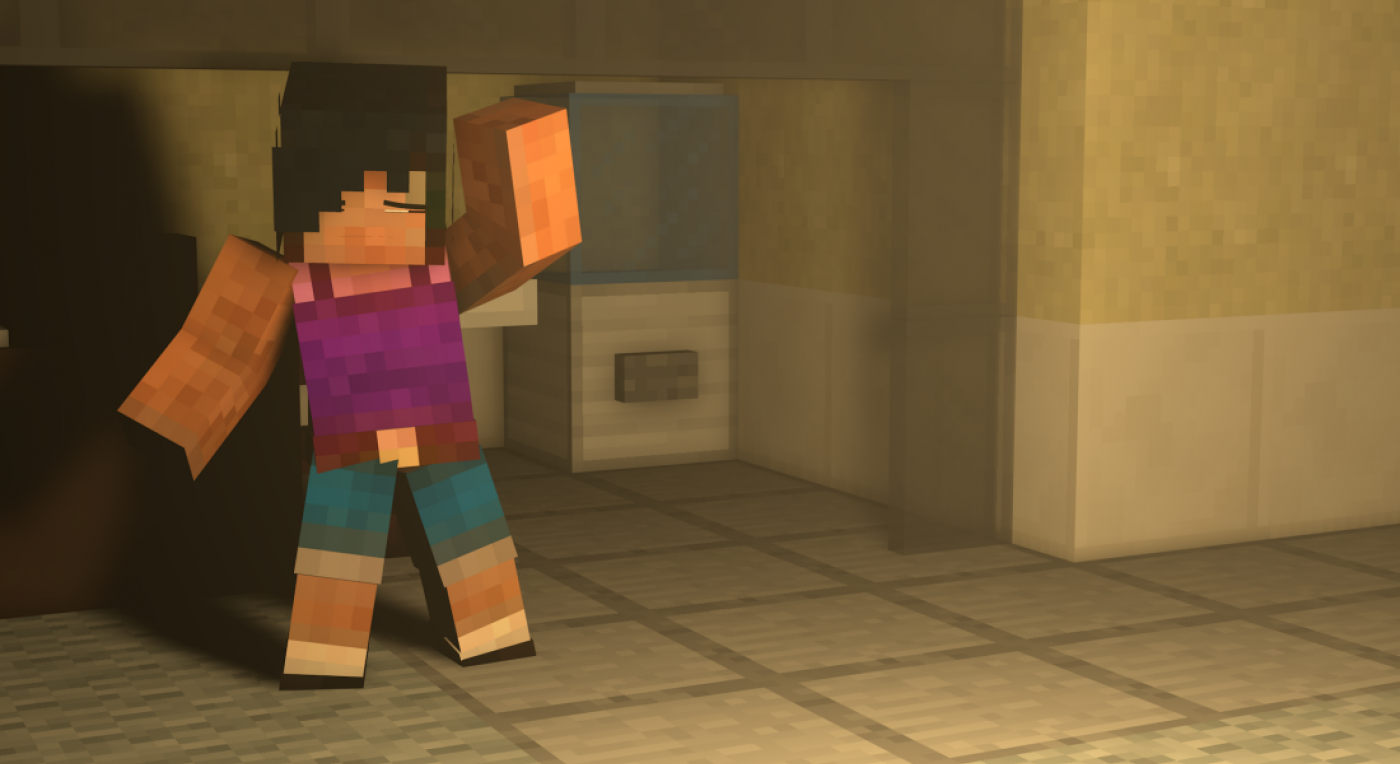 Image shows Playcraft Live character Sal in her office. She is a Minecraft avatar