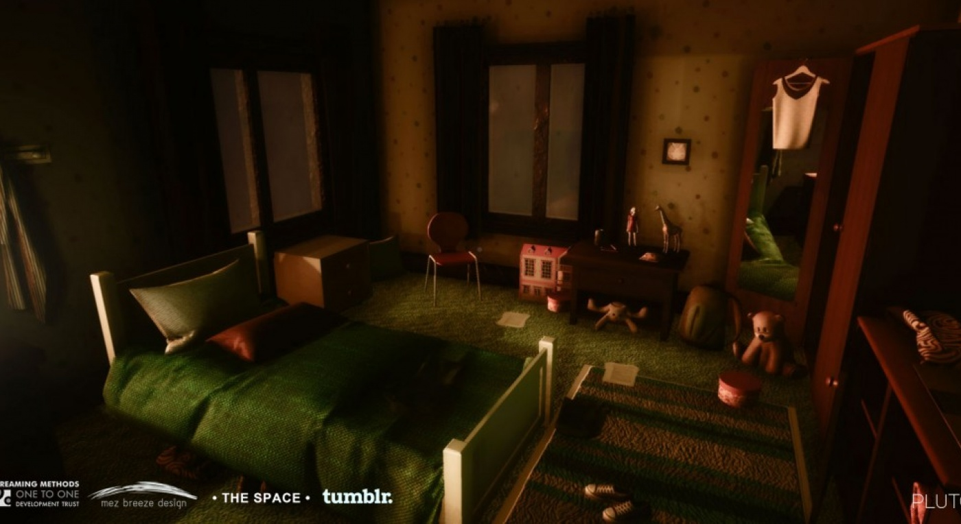 Screenshot of a bedroom of the character Charlotte from the Pluto 3D Gameworld
