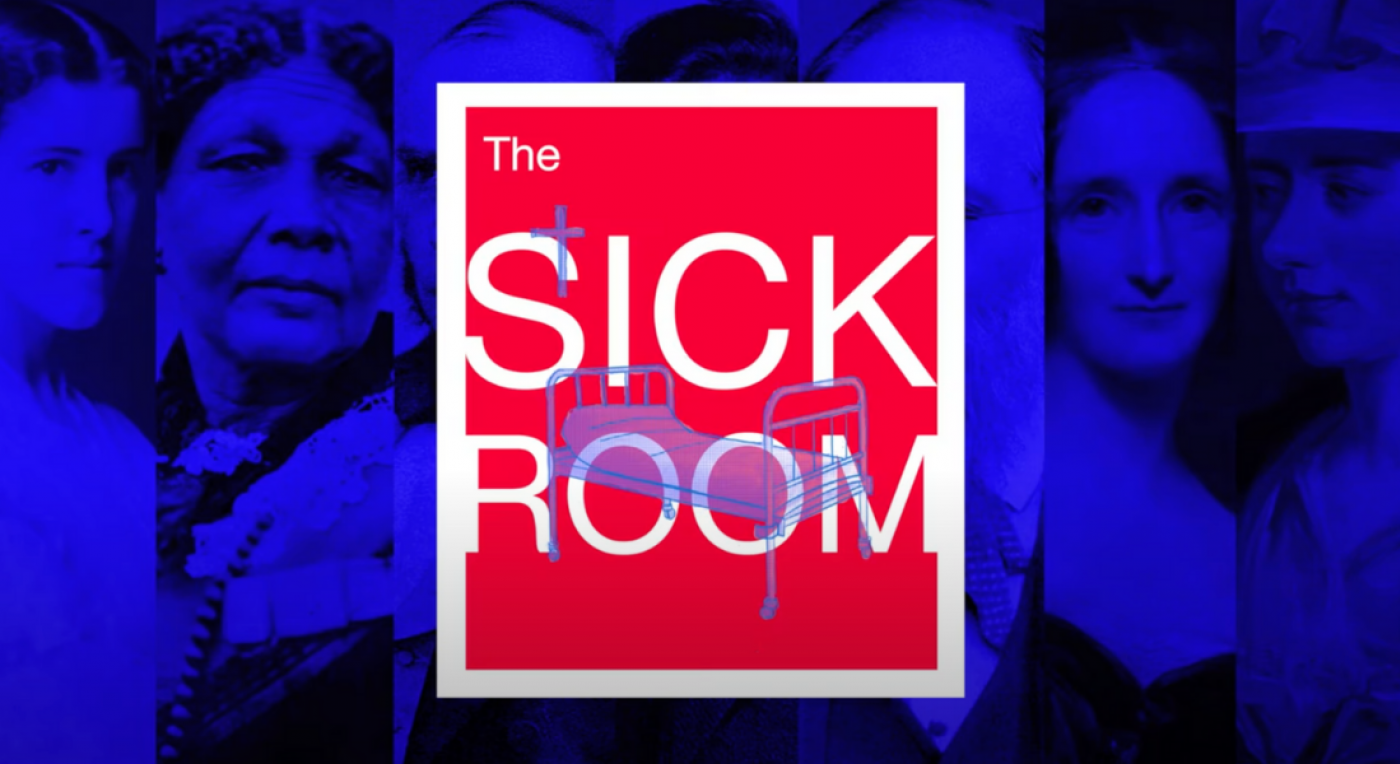 The Sick Room Logo in red and white with famous 19th century figures in the background, with a blue filter
