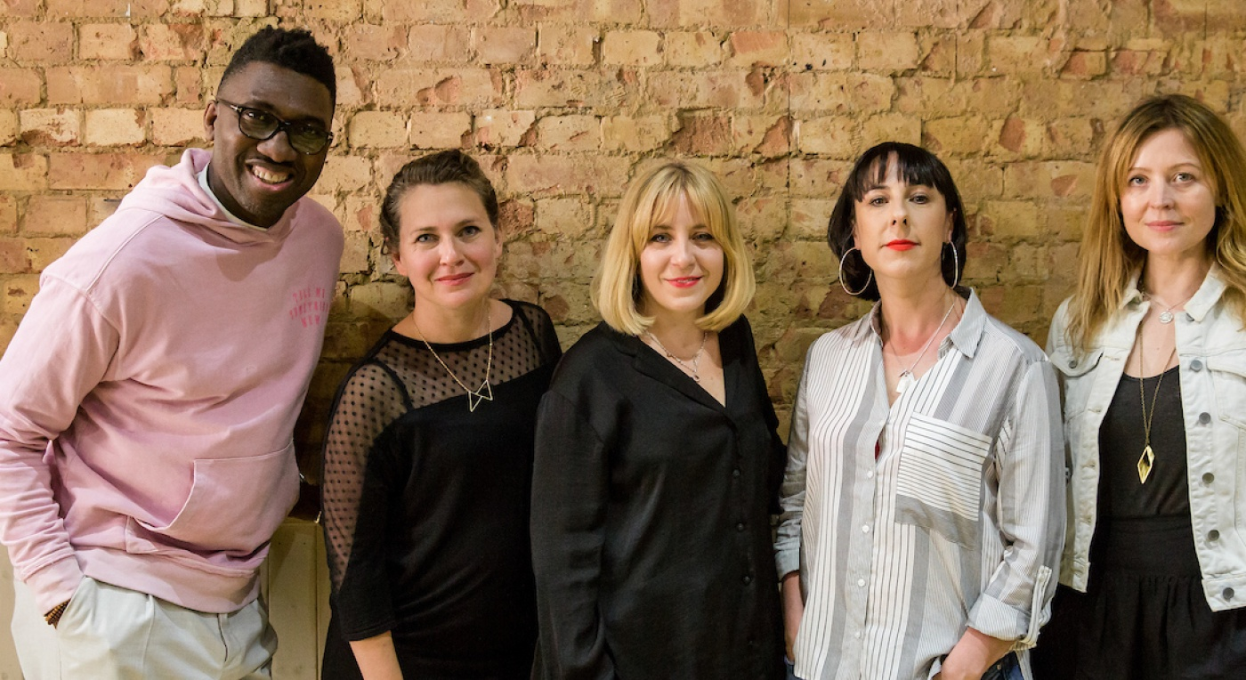 Theatre Uncut Political Playwriting Award featuring left to right Kwame Kwei- Armah Artistic Director of the Young Vic, Emma Callander Co-Artistic Director of Theatre Uncut, Hannah Price Co-Artistic Director of Theatre Uncut, Orla O'Loughlin Artistic Dire