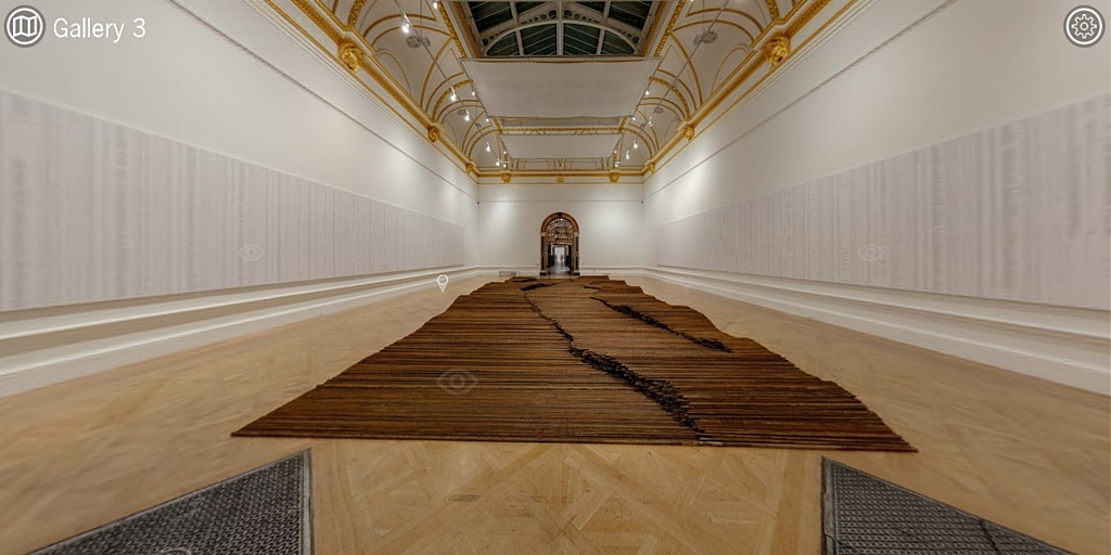 "Large artwork titled ""Straight"" displayed on the gallery floor"