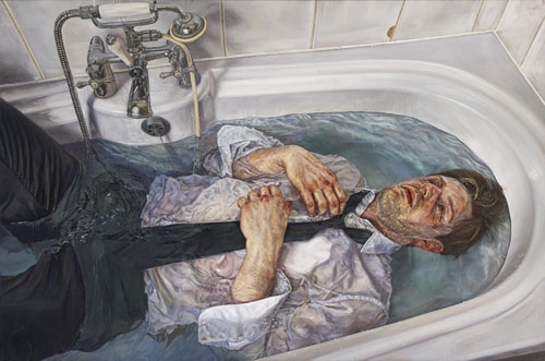 Sink or Swim, an Oil on Linen self portrait from Ian Cumberland depicting him lying fully clothed in a bath full of water.