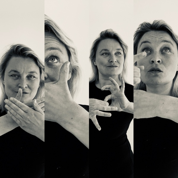 Cathy Mager, Sign Night, Culture in Quarantine. Cathy appears in 4 images demonstrating sign language