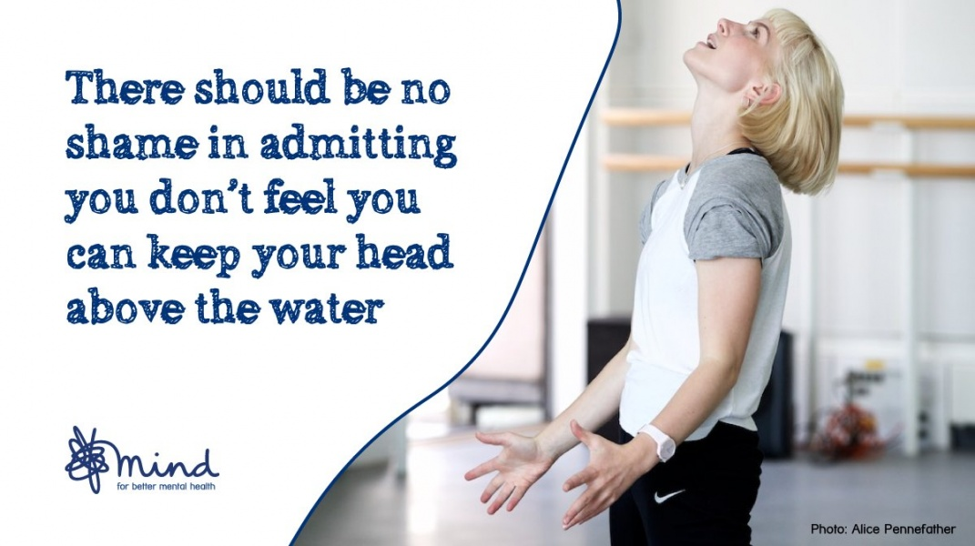 A Photo of Charlotte with the caption 'There should be no shame in admitting you don't feel you can keep your head above water'