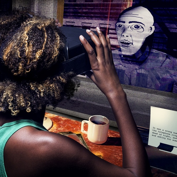 A woman wearing a VR headset looks out a window at a character from the virtual reality experience. She is sitting at a desk with coffee and a typewriter