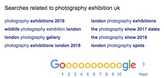 "A list of search terms related to ""photography exhibition UK"""