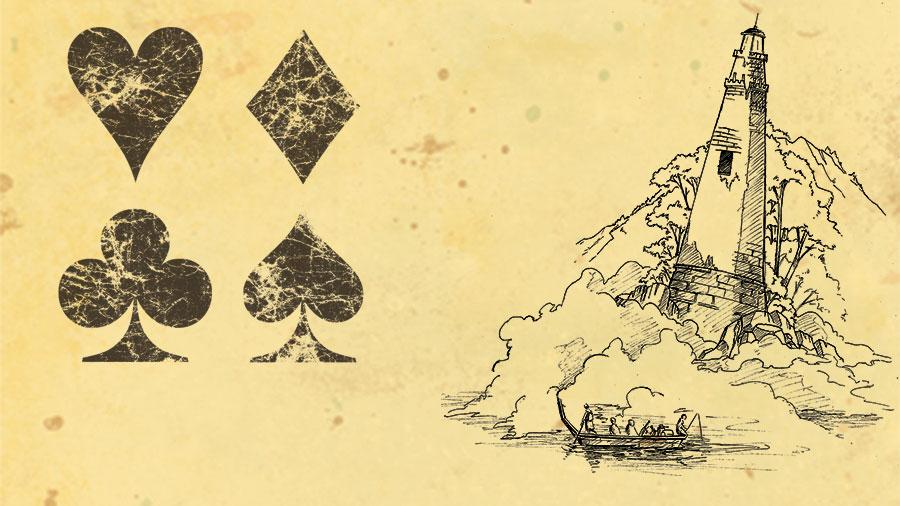 Artwork for The Quiet Year. Symbols for heart, spade, diamond and club on a parchment style background next to a sketch of 4 figures in a boat next to a lighthouse on an island