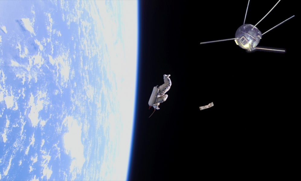 3 pieces of spacejunk float in orbit above the earth. An old satellite, Vanguard, a space suit, SuitSat,  and piece of fengyun space debris.