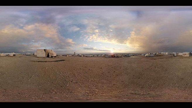 A 360 degree photo of a  Za'atari refugee camp in Jordan from the VR documentary Clouds Over Sidra