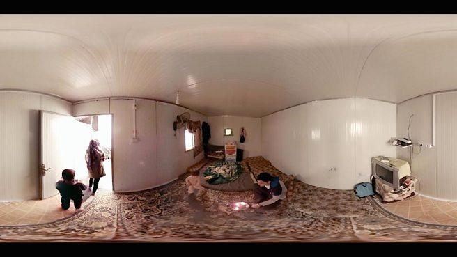 A 360 degree view of the inside of a room in the VR documentary Clouds Over Sidra