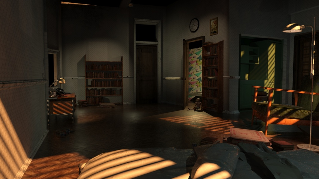 A still from the VR experience; A room with with a wooden floor and assorted furniture with shadows cast from a slatted blinds